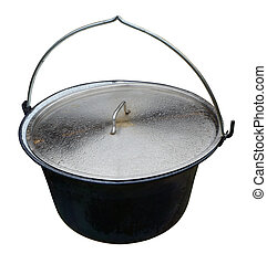 Large metal pot with a lid for cooking on the stake.