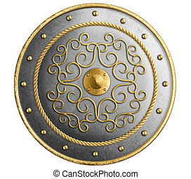 Large metal round shield decorated gold isolated 3d illustration