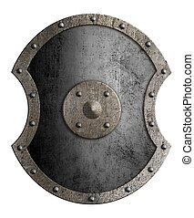 Large metal shield isolated 3d illustration