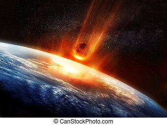 Large Meteor And Earth - A large Meteor burning and glowing...
