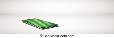 Large modern smartphone with a soccer field on the screen - Vector