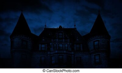 Large Moon Rises Behind Mansion - Large imposing Gothic...