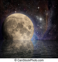 Moon - Large Moon with Reflection in Water and Stars in...