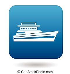 Large motor yacht icon, flat style - Large motor yacht icon...