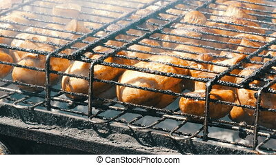 Large mushrooms are grilled on grill - Large mushrooms are...