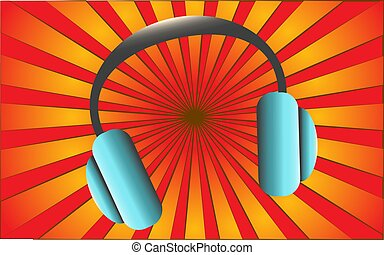 Large musical headphones on a background of abstract red rays. Vector illustration