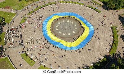Large national flag of Ukraine. Big yellow blue patriotic ...