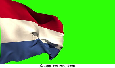 Large netherlands national flag blowing on green screen...