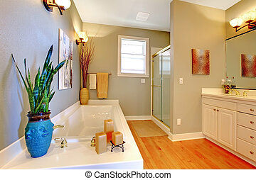 Large new remodeled bathroom with green walls and tub.