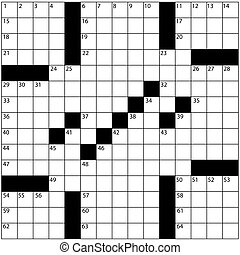 A blank newspaper style crossword puzzle with numbers in the word grid.