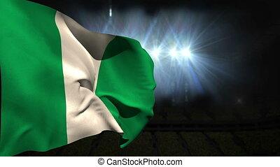 Large nigeria national flag waving