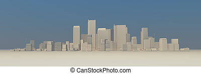 large, non, -, cityscape, modèle, légèrement, ombre, brumeux, 3d