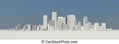 large, non, -, cityscape, modèle, ombre, 3d