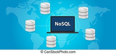 large, non, concept, nosql, base données, mondiale,...