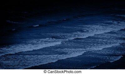 Large Ocean Waves At Night