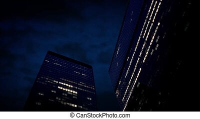 Large Office Buildings At Night - Large office towers with...