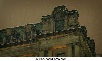 Large Old Building In Heavy Snowfall