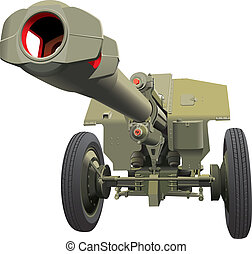 large old gun - Vector detailed image of howitzer of times ...