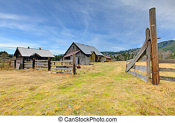 Large old rustic grey barn in the field with mountain -...