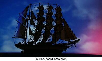 Large old sailing ship