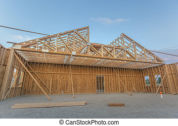 Large open area of the wooden construction