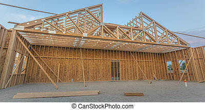 Large open area of wooden construction interior