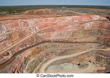 mine at cobar - large open cut copper mine at cobar with car...