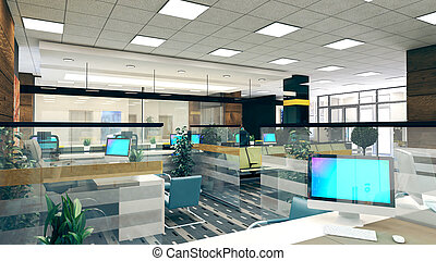 Large open space office perspective interior design 3D rendering
