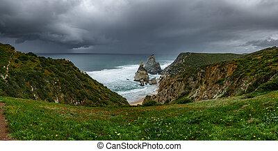 large, orageux, panorama, nuages, da, praia, sous, ursa,...