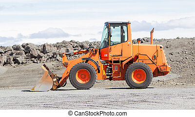 Large orange bulldozer