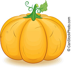 Large Ornage Pumpkin. Vector Image