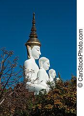 Large outdoor Buddha statue on Khao Kho mountain at Wat Phra Sorn Kaew temple.