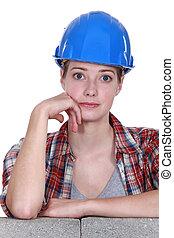 large, ouvrier construction, observé, femme