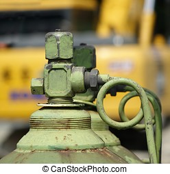 Large Oxygen Bottle at Construction Site - Acetylen and...