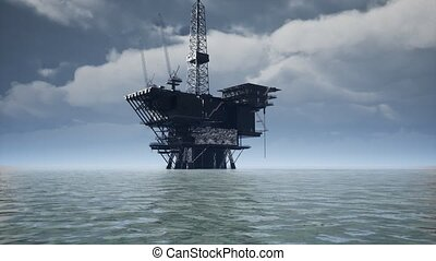 Large Pacific Ocean offshore oil rig drilling platform