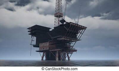 Large Pacific Ocean offshore oil rig drilling platform