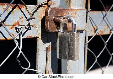 Large Padlock on Gate