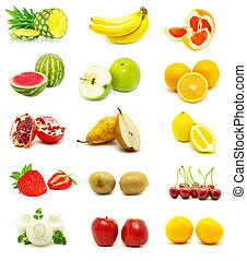 fruits  -  large page of fruits on white background