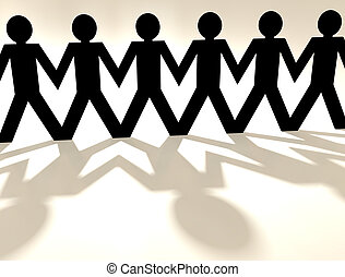 close up of a paper chain people with shadow and white background