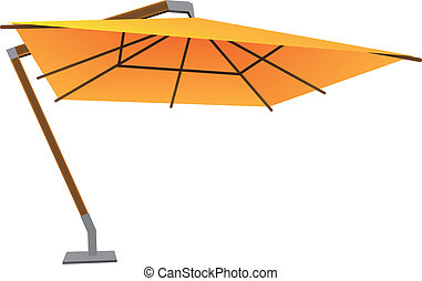 Large parasol - Big sun umbrella on a stationary bracket....