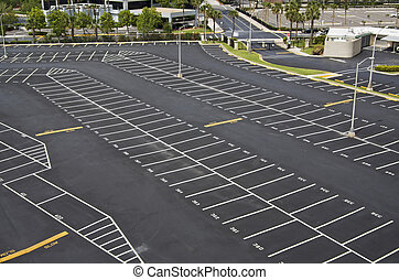 large numbered space parking lot from above