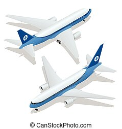 Large passenger Airplane 3d isometric illustration. Airplane...