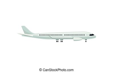 Large passenger airplane, side view. Air transport. Airport and travel theme. Flat vector element for airline website