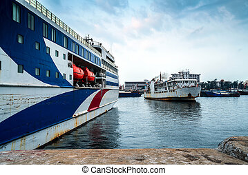 Large passenger ship on the pier - Passenger ships that are...