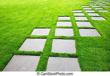 Diagonal Rows of Large Stone Pavers green grass lawn