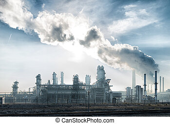 petrochemical plant - large petrochemical plant in the...