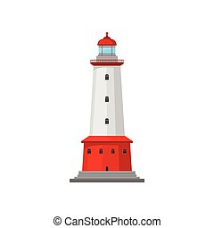 large, phare, vecteur, band., illustration.