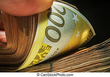 Pile of Earned Euro Cash Money