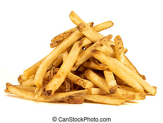 Large Pile of Fries on White