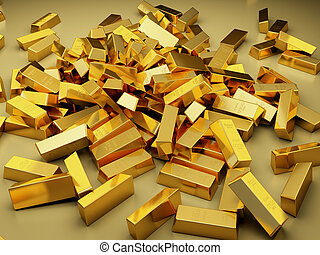 Large pile of gold bars